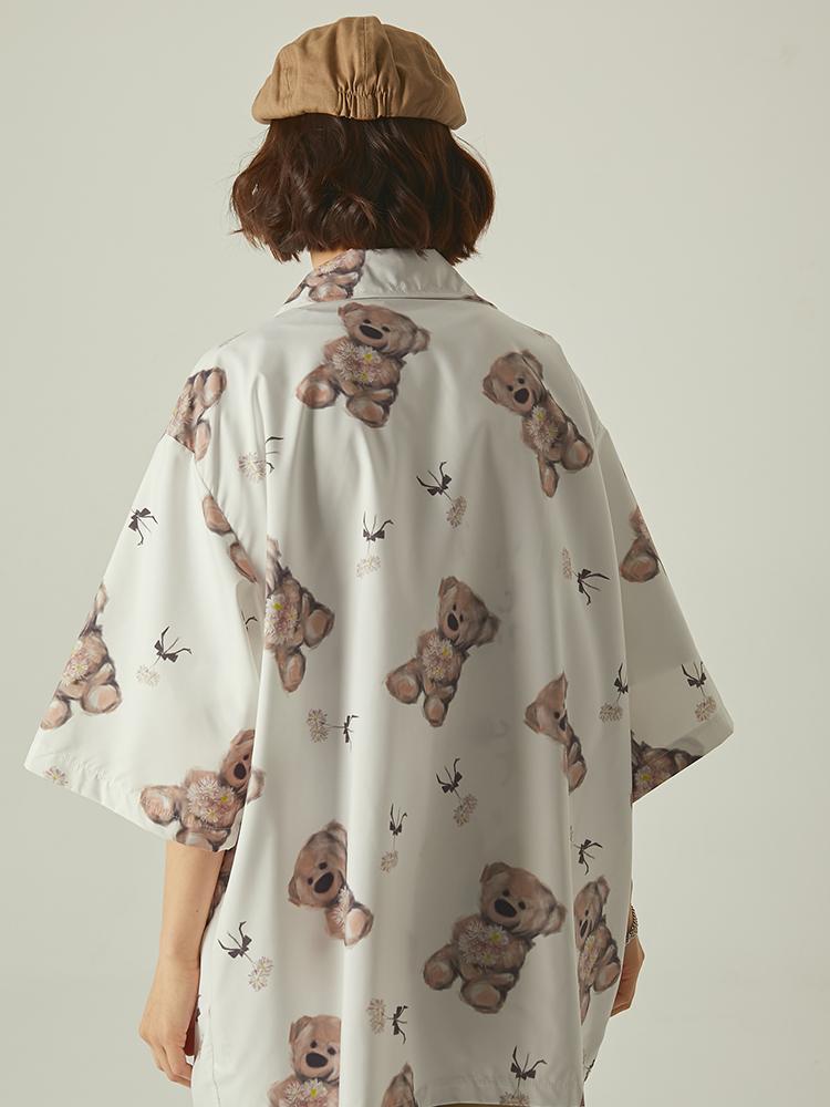 Nextdawn new summer loose bear pattern Top Casual half sleeve design mens and womens fashion shirt