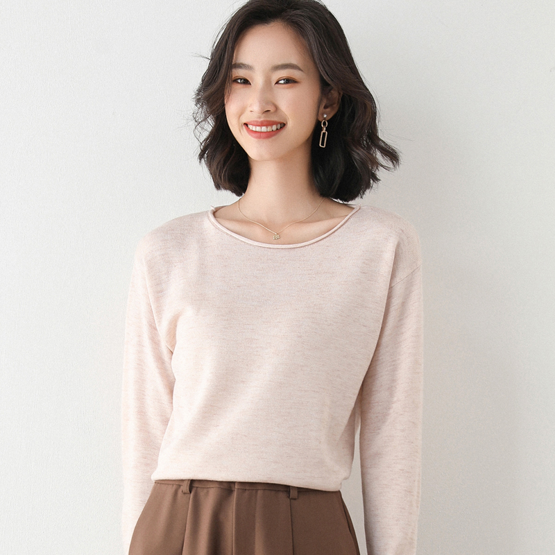 Autumn and winter new cashmere sweater womens V-neck Pullover versatile solid color sweater loose knit backing