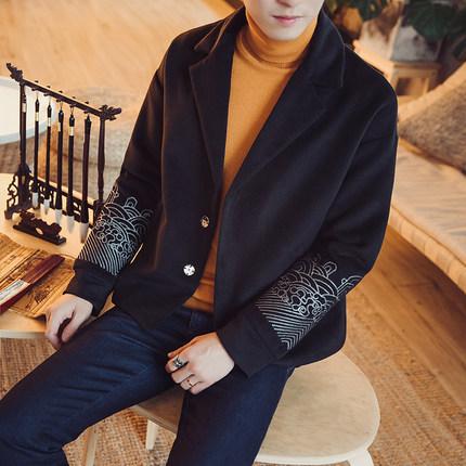 秋冬中国风短款毛呢外套男宽松大码复古刺绣呢子大衣国风时尚唐。