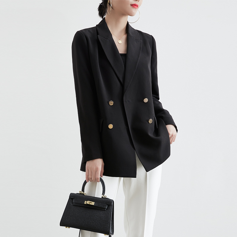 The color will not fade in the spring and autumn of 2020 ol white-collar casual outside with commuter straight tube loose British style black suit coat female