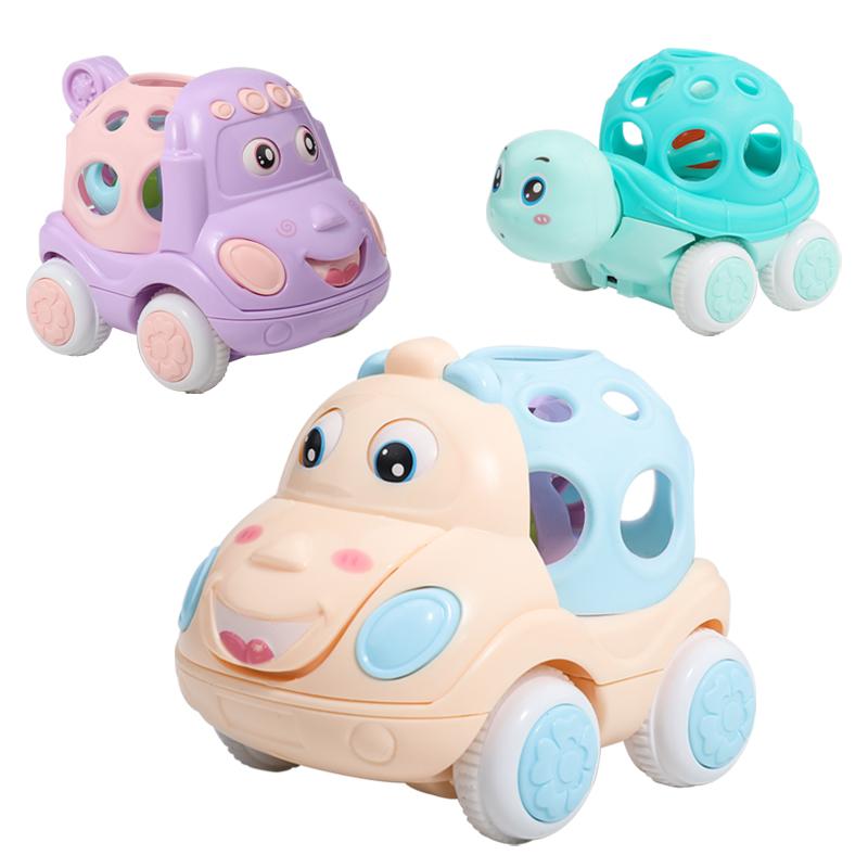 可爱儿童婴幼儿惯性小汽车玩具迷你可啃咬启蒙礼物婴儿会跑软胶