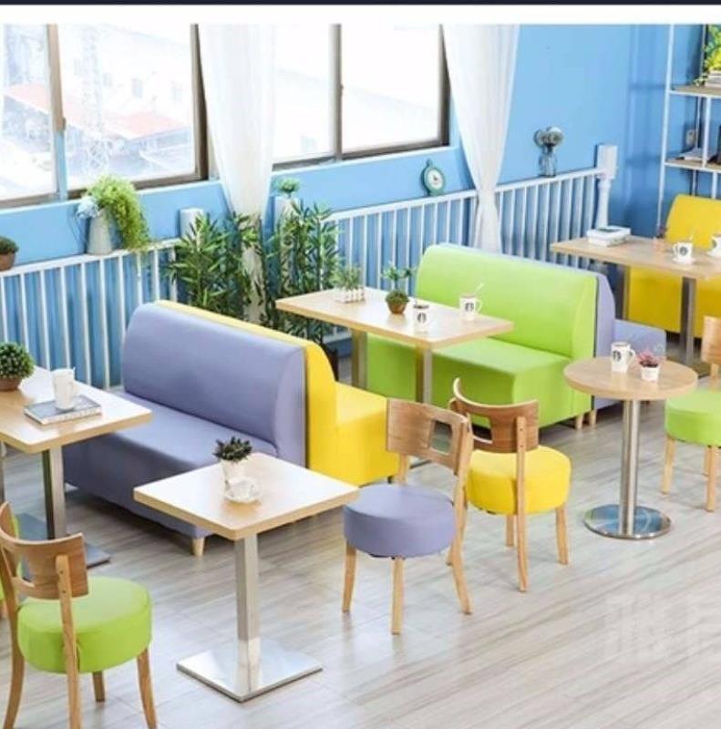 组合桌椅奶茶店卡座咖啡厅店汉堡沙发小吃清新餐厅甜品