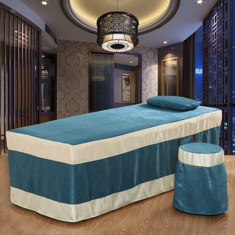美容床罩四件套美容院会所美体按摩床罩包邮定做艾灸洗头床罩