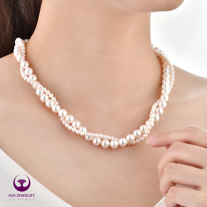 Hui jewelry is attached to Akoya double-layer seawater pearl necklace imported from Japan
