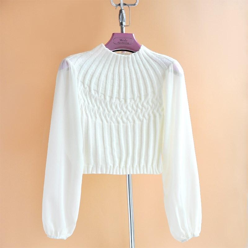 2019秋装新针织衫韩版修身显瘦高腰短款雪纺袖百搭女士衬衫短外套