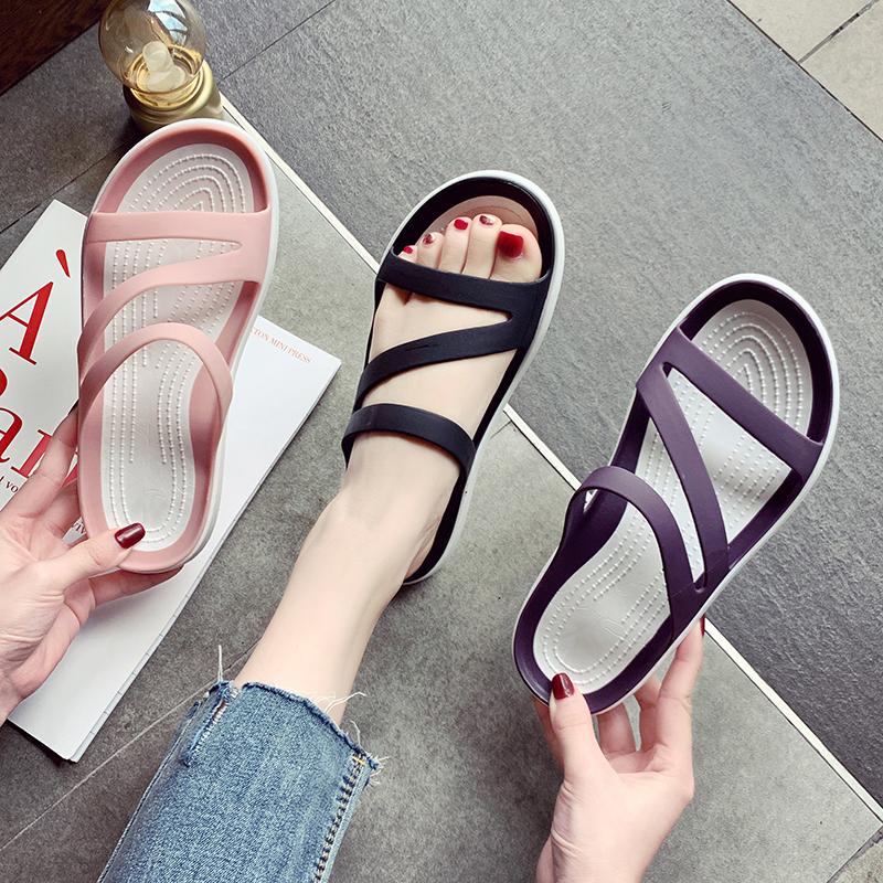 可湿水外穿拖鞋女2021新款夏季凉拖软底孕妇鞋海边韩版沙滩女凉鞋