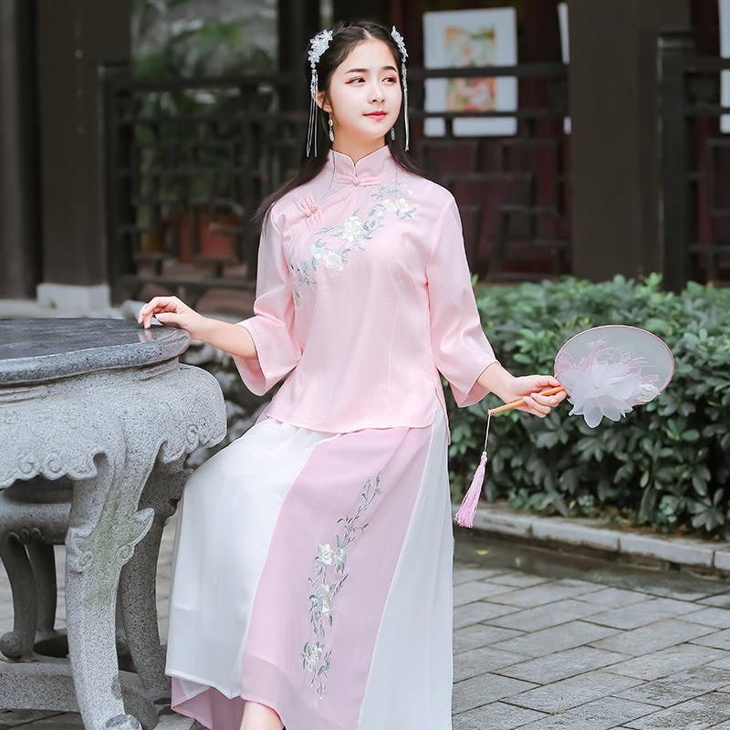 New Hanfu female Republic style Chinese wind student fairy spring and summer Tang costume with Chinese elements embroidery design set