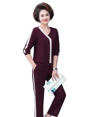 2021早春新款运动套装女40一50岁中年妈妈洋气春秋时尚春装两件套