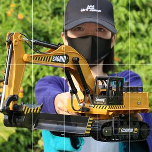 新款大號液壓遙控挖掘機模型兒童合金工程車無線充電挖土男孩玩具