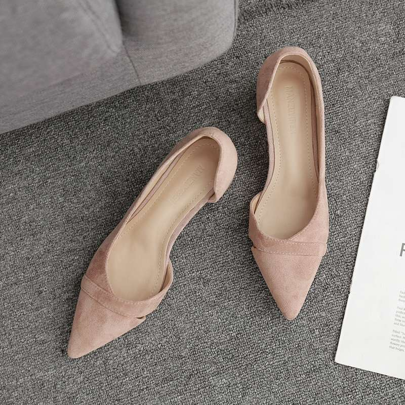 High heeled shoes womens thick heel summer 2020 new pointed point side cut out evening shoes