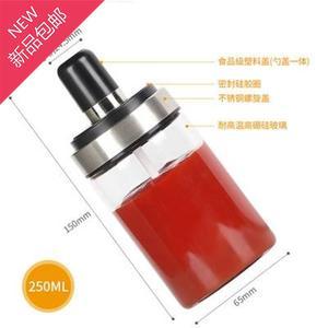玻璃调4料瓶勺盖一体调料盒防潮盐罐密封调味罐家用佐料瓶厨房用