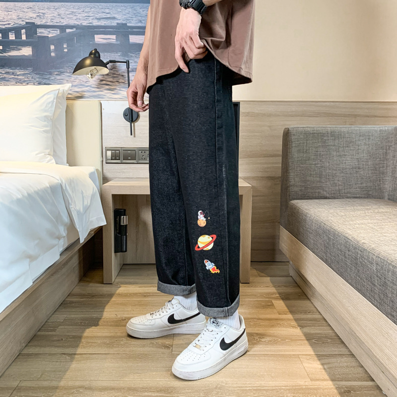 Summer port style ins loose straight mens jeans 2021 medium low waist printed washed popular wide leg pants