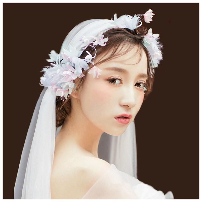 款手工造花系列新娘韩式蓝粉羽毛头花花环头饰头纱婚纱发饰