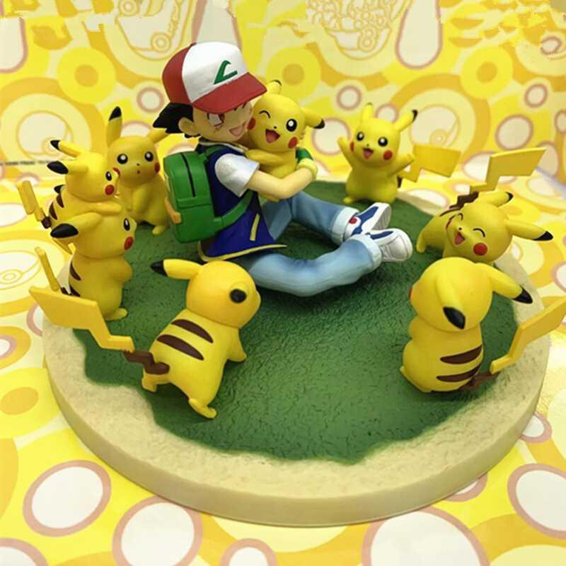 Small group of pets Pikachu sitting around scene pocket monster magic presents