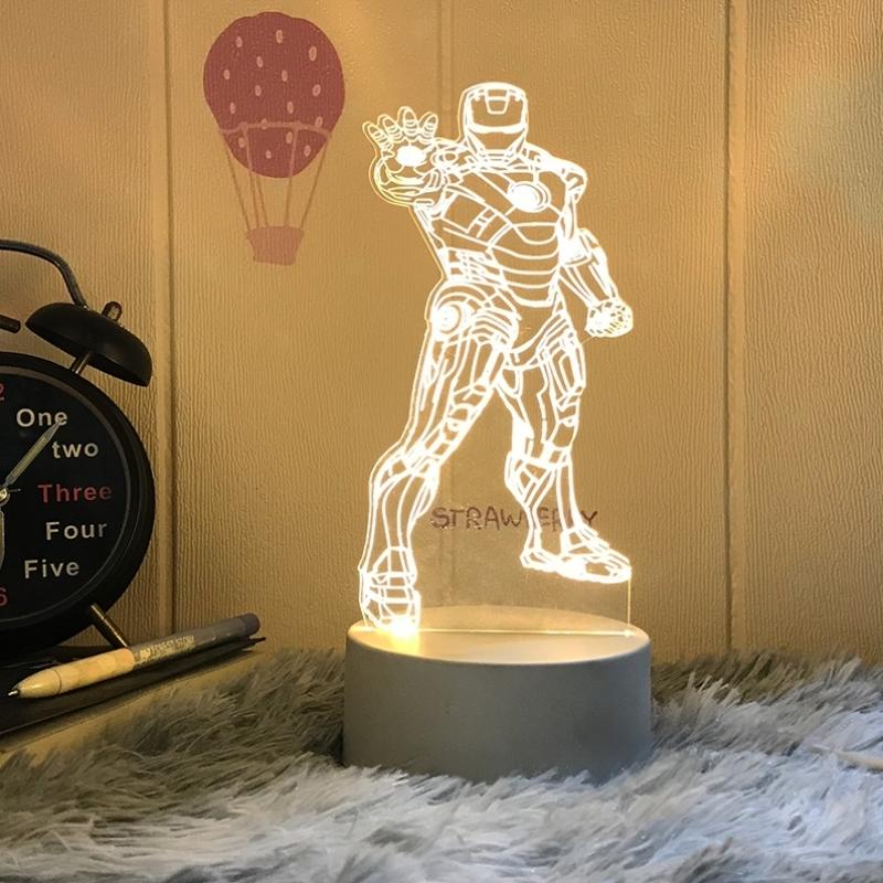 钢铁侠小夜灯超级英雄复仇者联盟台灯男生床头卧室灯生日礼物创