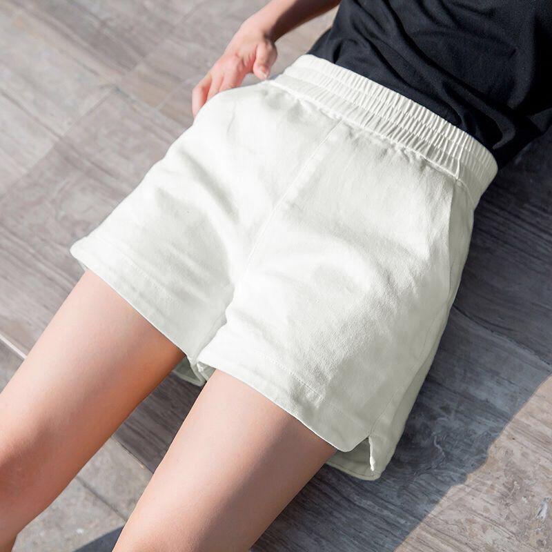 亚棉短裤女夏季宽松显瘦松紧腰纯色大码薄款透气阔腿裤休闲热裤