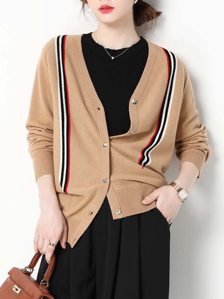 High aesthetic and high appearance ~ 2021 autumn and winter new V-neck cashmere sweater womens cardigan short long sleeve knitted sweater womens sweater