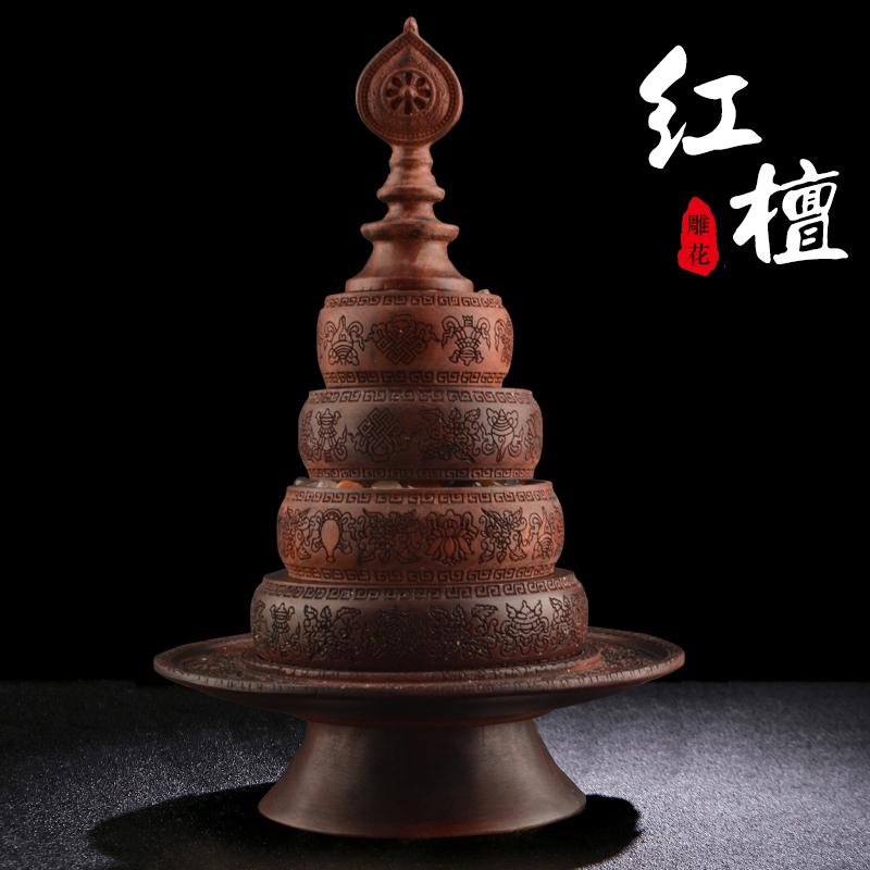 藏式曼扎盘红檀木仿尼泊尔八吉祥雕花三十七供曼茶罗供佛曼达盘 Изображение 1
