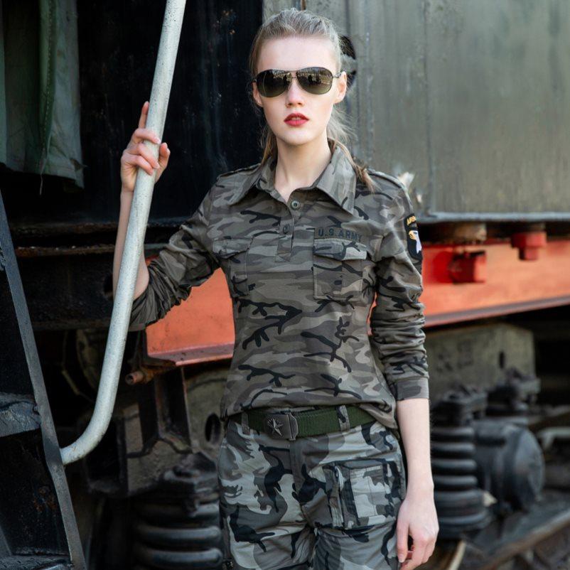 新款迷彩短袖t恤女显瘦长袖显瘦军装绿色水兵舞服装宽松夏季上衣