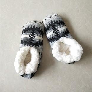 秋冬毛線地板襪套毛絨成人圣誕襪子女士加厚加絨防滑室內居家鞋襪