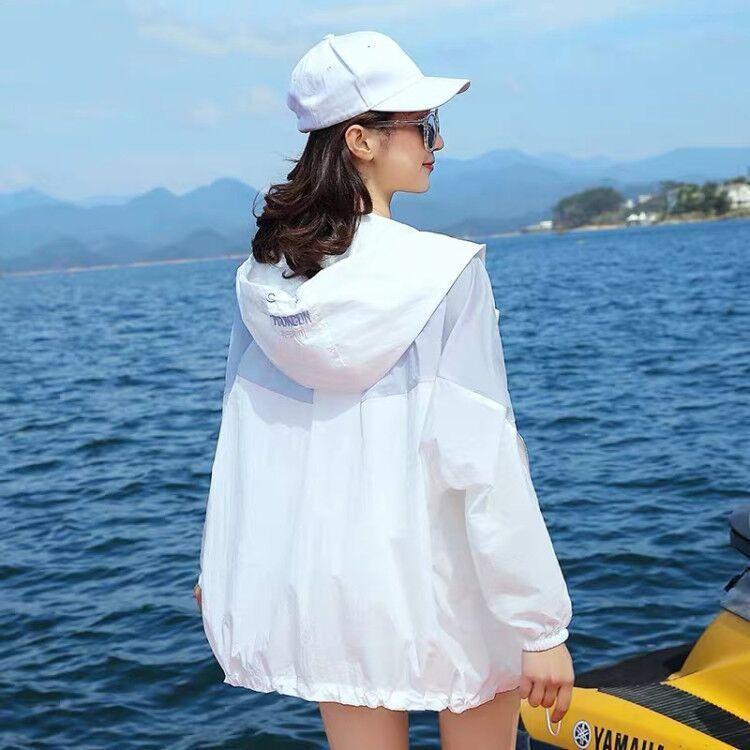 2021夏季款防晒衣女学生韩版宽松长袖防晒服轻薄防晒衫ins外套潮