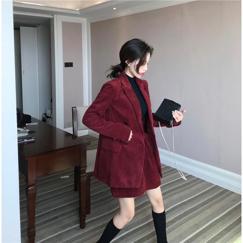 Temperament wear light ripe wine red corduroy suit skirt loose straight pants womens suit coat three piece set