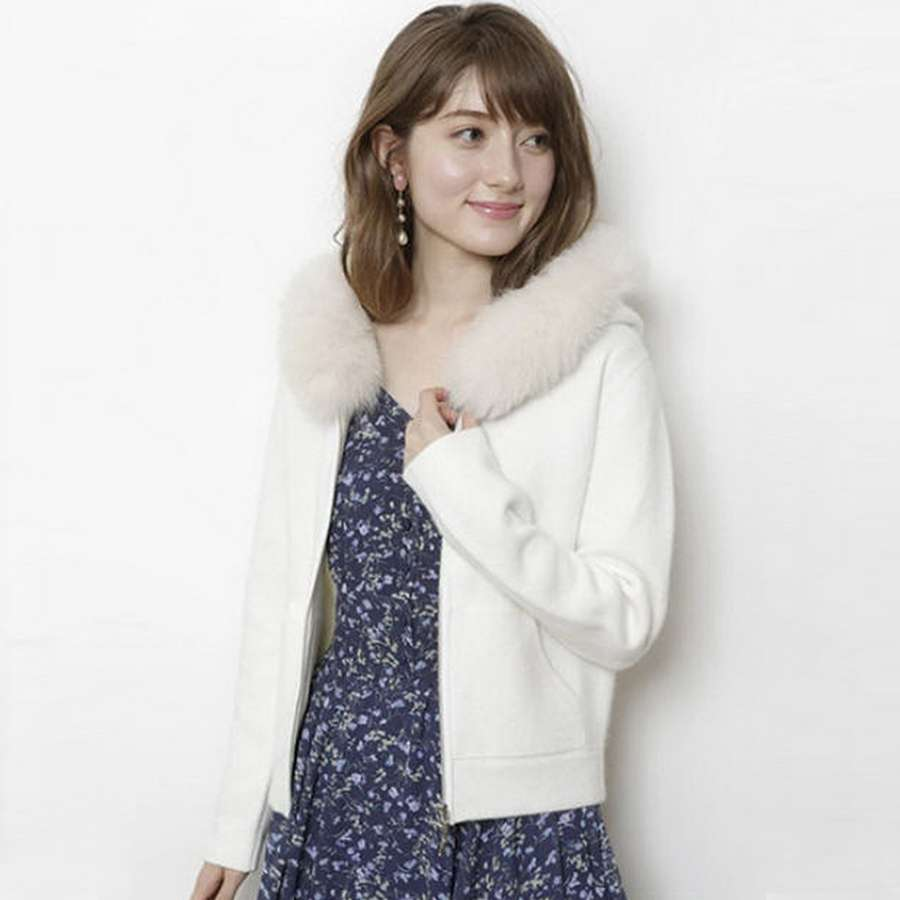 Wool collar sweater with hat slim sweet sweater zipper coat hooded Pullover