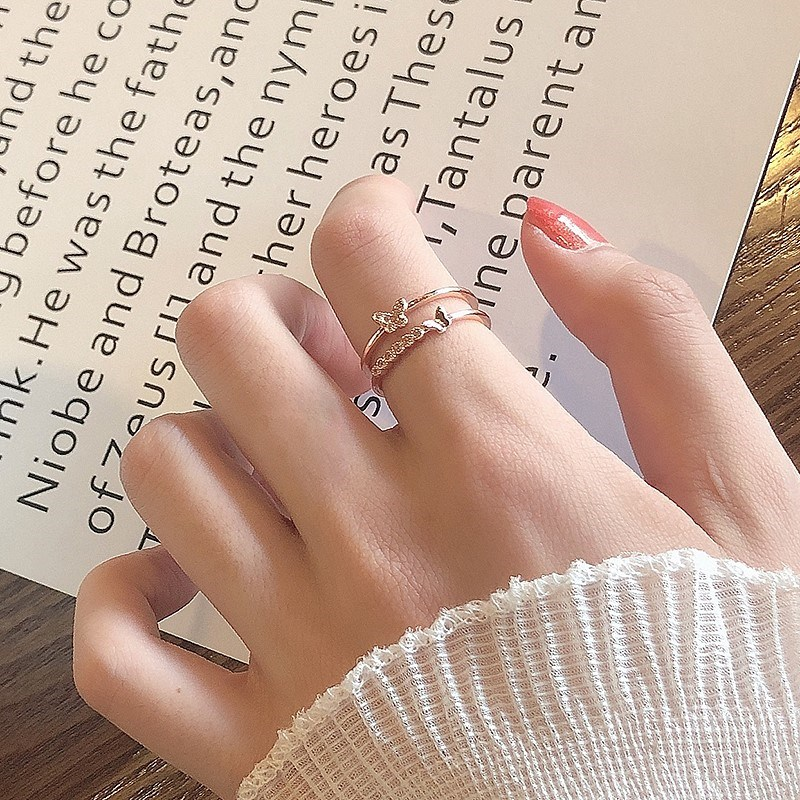 Butterfly Ring three-dimensional super immortal little sense of happiness ring small group elegant and lovely Trinket ring ring