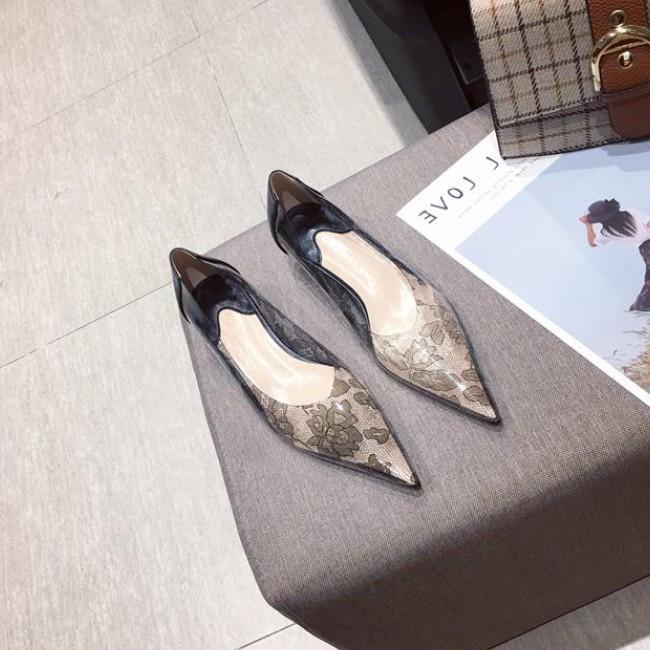 Aili新款2019尖头软底网布时尚低跟软底时尚百搭仙女风细跟单鞋