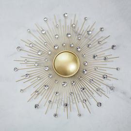 玄关铁艺太阳镜子壁饰壁挂件客厅背景墙挂饰样板房软装轻奢装饰品