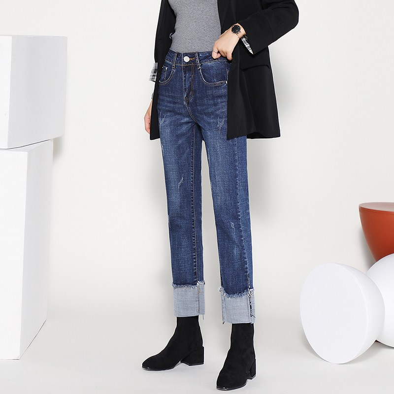 Nine point jeans womens small straight tube high waist loose wide leg new style slim big flanging chimney curling womens spring style