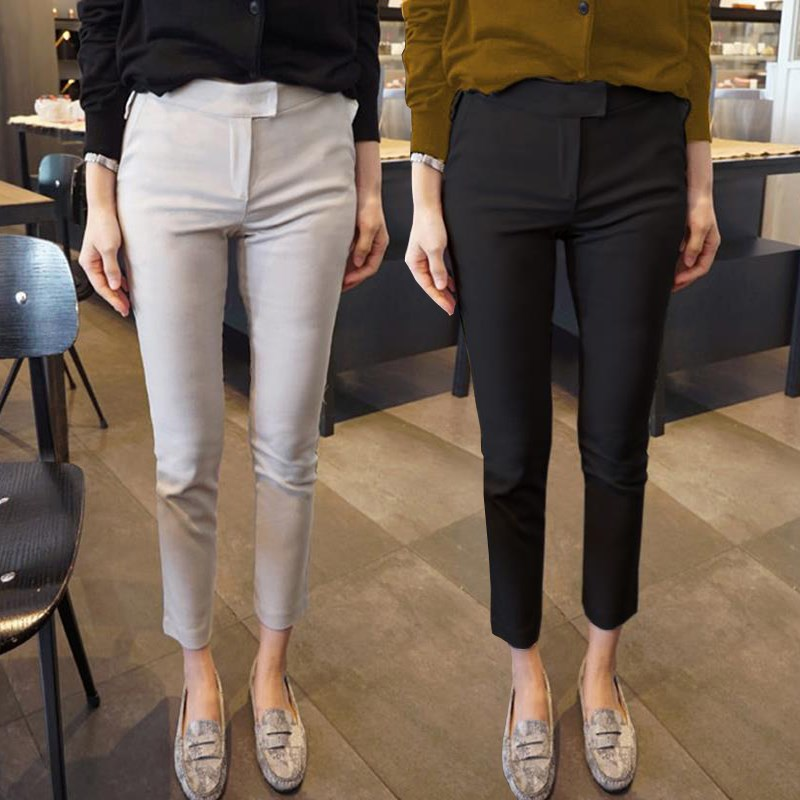 Black nine point suit pants women spring and summer 2020 new Korean slim casual pants show thin small leg pants thin