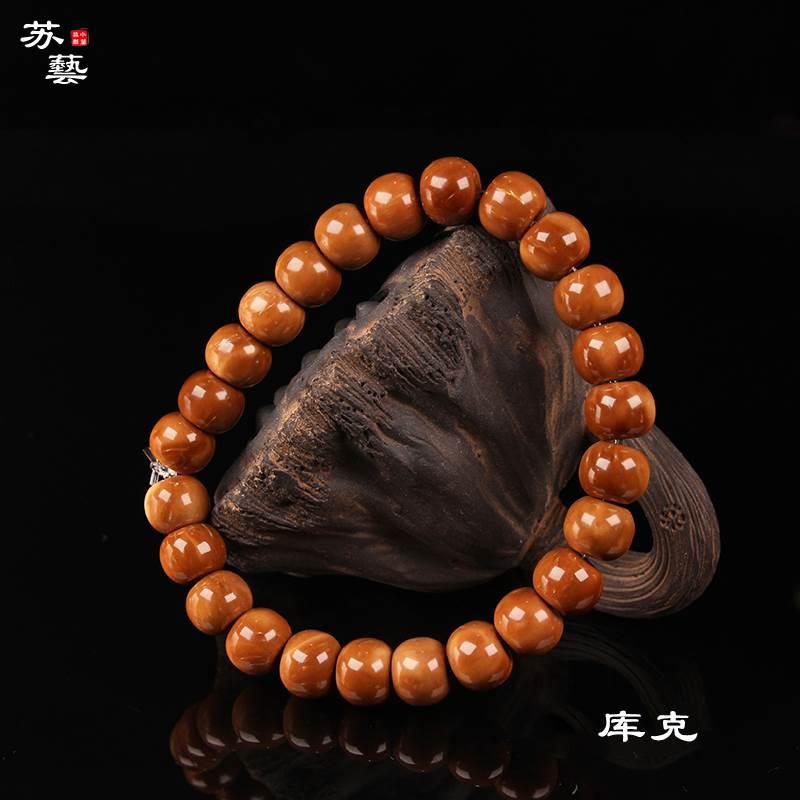 クックの桶の玉のチェーンブレスレットの古い型の単独の円の手は数珠のチベット式の仏陀の男女の金の逸品の菩提子の文を刺し連ねて飾ります。