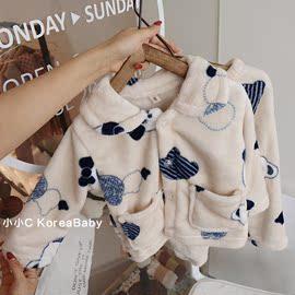 韩国婴童装家居服套装!秋冬新款男女儿童宝宝纯棉打底睡衣图片