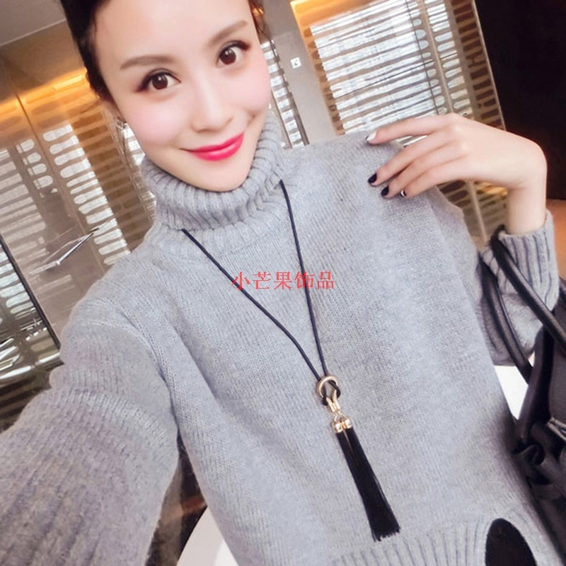 Small mango blue Amoy new Korean simple fashion versatile tassel Long Necklace womens sweater chain accessories manufacturers