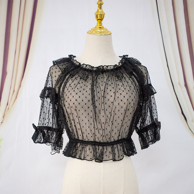 Lolita summer bubble short sleeve with Lolita line neck Lo skirt lace mesh black and white jsk shirt