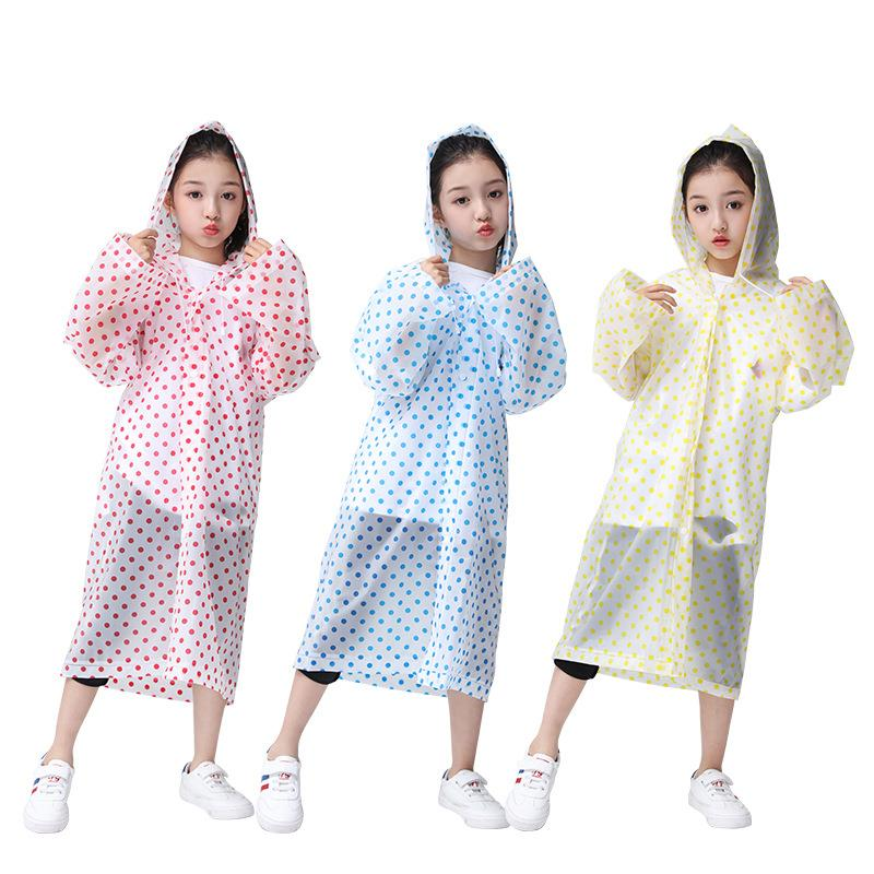 Disposable thickened EVA childrens raincoat customized outdoor mountaineering boys and girls fashion transparent raincoat poncho