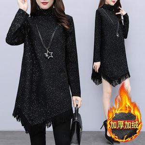 加絨/薄款秋冬季黑色大碼女裝裙子胖妹妹冬裝新款加厚打底連衣裙