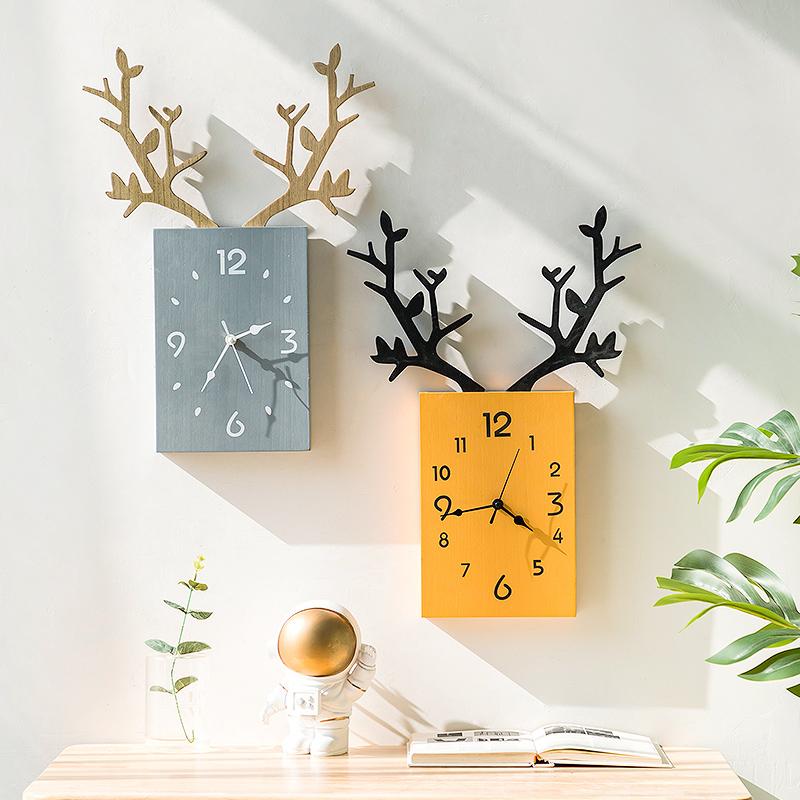 挂钟客厅北欧简约时钟电子钟挂墙家用钟饰创意鹿头挂表餐厅装饰钟