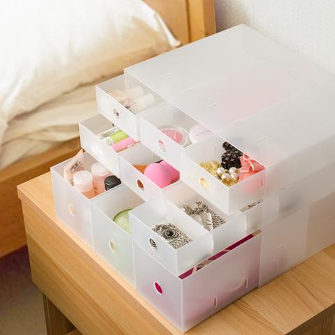 抽屉式桌面手帐胶带收纳盒无印风办公室文具杂物磨砂小收纳柜
