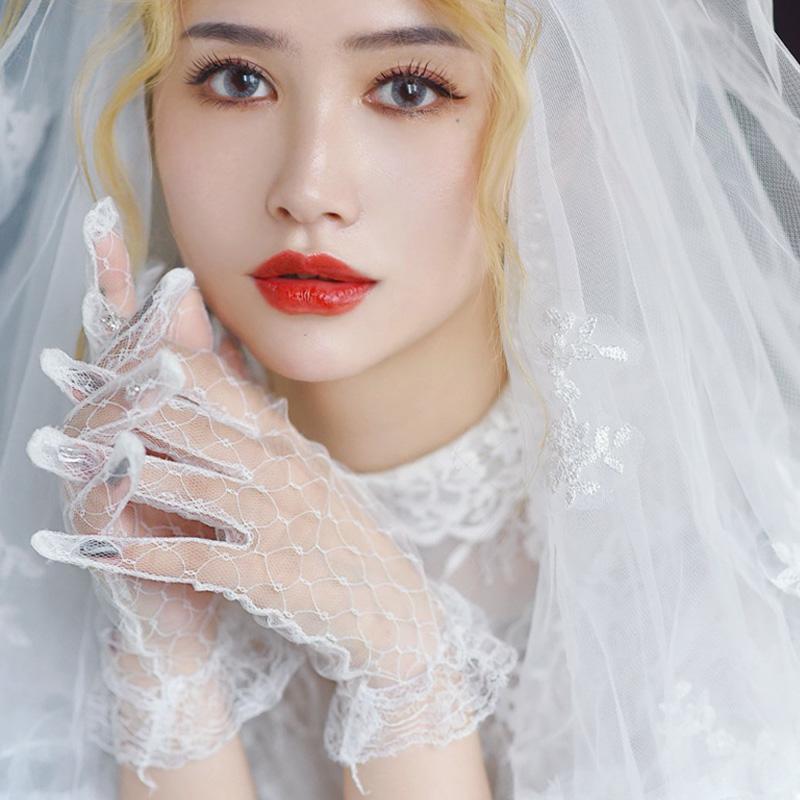 婚纱手套蕾丝韩式超仙韩版森系简约短款婚礼新娘白色婚礼薄款