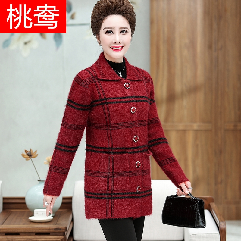 Yang Korean version of mothers autumn and winter long sleeve plaid coat medium long sweater middle aged and elderly womens wool large coat