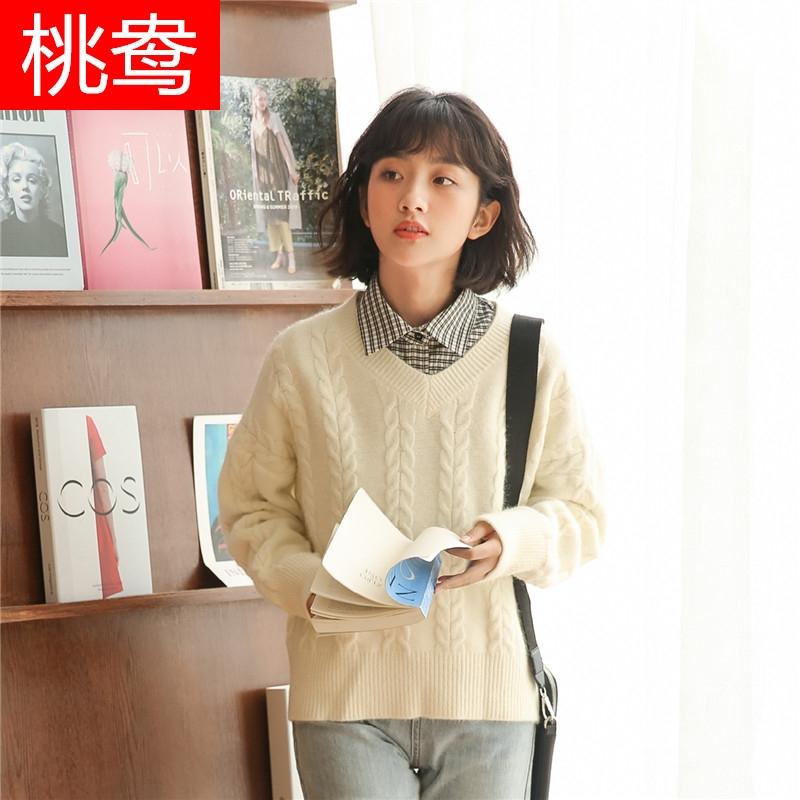 鸯毛衣少女外穿2020新款秋冬季初中学生韩版短款V领打底针织衫上