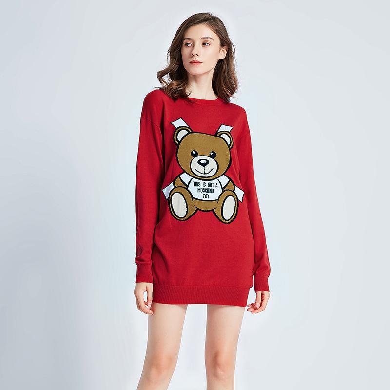 正品moschino/莫斯奇诺针胶带熊图案女士中长款休闲针织衫毛衣