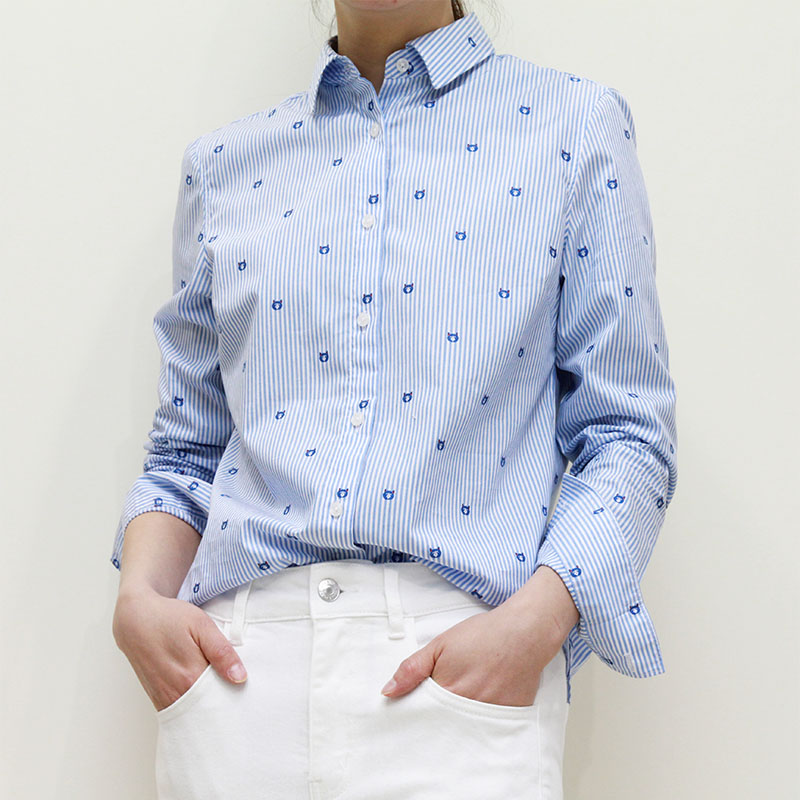 Narisichun new long sleeve shirt womens commuting business casual embroidery pattern stripe lovely versatile blouse