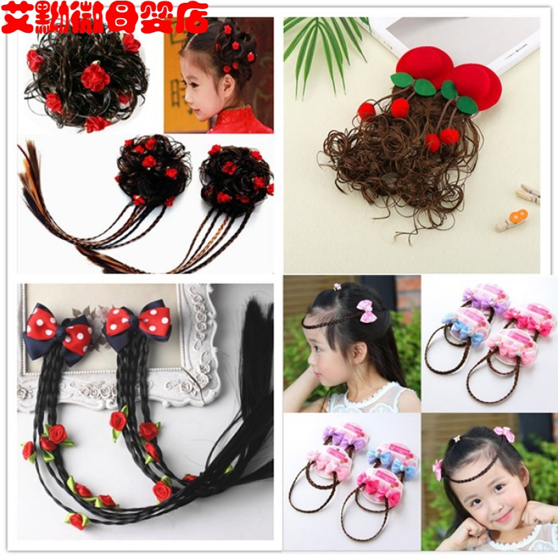 Childrens wig, female long curly hair, Princess fashion braid, little girls hat and hairpin, girls hairpin, babys head