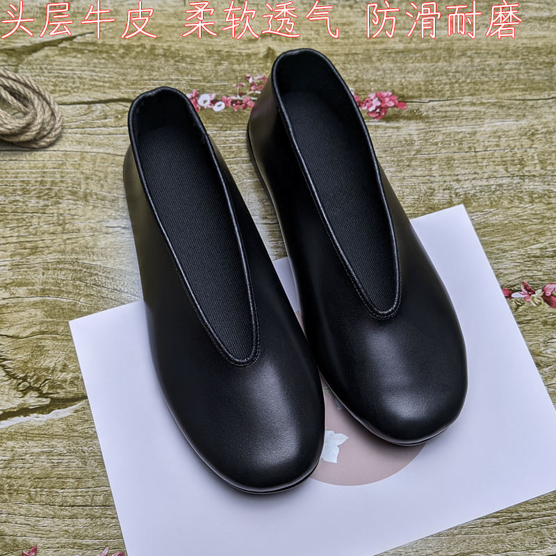 Japanese sandals for men, sandals for the old, sandals for the old, Kungfu shoes for the lazy, handmade, folk style, round mouth leather shoes, durable