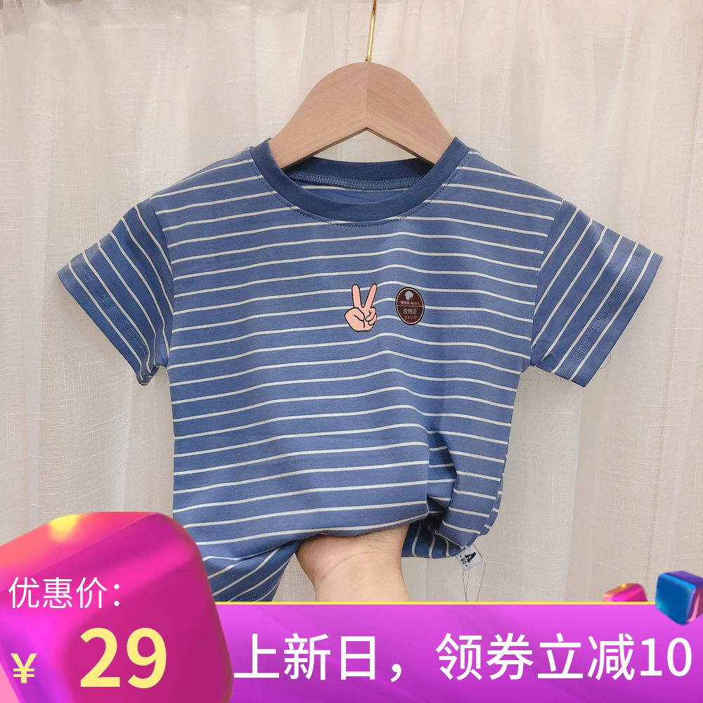 Boys short sleeve T-shirt summer stripe childrens 0-5 years old childrens Mickey Top Boys foreign style childrens clothes little boy