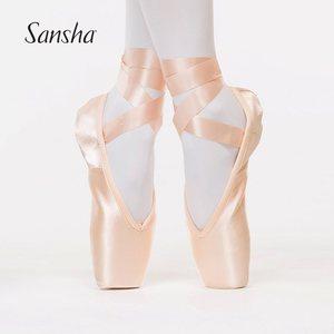 。Sansha 法国三沙芭蕾舞足尖鞋缎面皮底舞蹈鞋硬鞋练功鞋 FRD