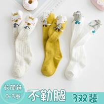 新生婴儿长筒袜夏季纯棉薄款春秋过膝防蚊宝宝01岁3月不勒腿袜子